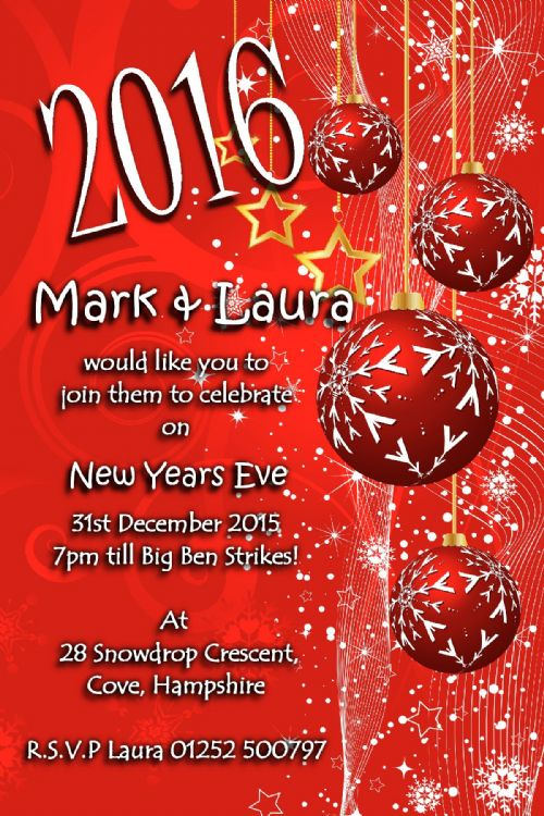 10 Personalised New Years Eve Party Invitations No6